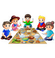 happy family having dinner together isolated on wh vector image