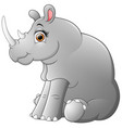 happy rhino cartoon sitting vector image vector image