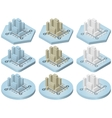 Isometric icons of city vector image vector image