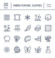 Line icons of fabric feature garments