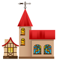 medieval house and church vector image