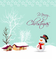 merry christmas card with snowman and tree vector image vector image