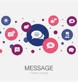 message trendy circle template with simple icons vector image