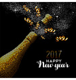 New Year 2017 gold drink bottle card design vector image vector image