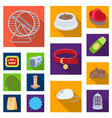 pet shop flat icons in set collection for design vector image