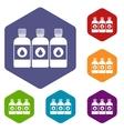 Printer ink bottles icons set vector image
