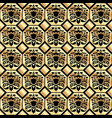 seamless gold classic pattern on a black vector image