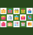 set christmas parcel package icons decor wrapping vector image vector image