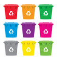 set colorful recycling wheelie bin icons vector image