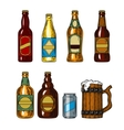 set icons beer bottles and mug vector image