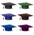 set of of colorful hats graduate on white vector image vector image
