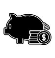 silhouette piggy to save money and coins cash vector image vector image