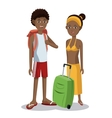Travel afro couple tourist vacation luggage vector image