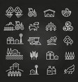 white farm icons and concepts on blackboard vector image