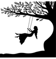 Young girl sitting on the swing in summer garden vector image