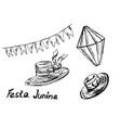 festa junina hand sketch elements vector image