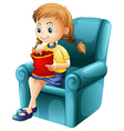 A girl eating junkfoods while sitting down vector image vector image