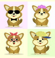 a set of cute dog characters in different images vector image