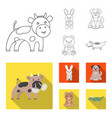an unrealistic outlineflat animal icons in set vector image vector image
