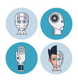 artificial intelligence round icons vector image vector image