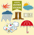 autumn weather stickers collection vector image
