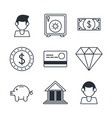 bank and money icons vector image