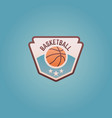 basketball sport team shield emblem vector image vector image