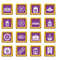 black friday icons set purple vector image vector image