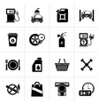 black gas station services icons vector image