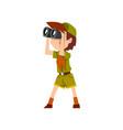 boy scout character in uniform with binoculars vector image vector image