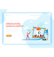 business startup landing page template characters vector image