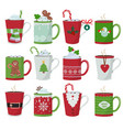 christmas mug holiday decoration at vessel vector image vector image