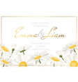 daisy chamomile floral wedding invite white yellow vector image vector image