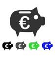 euro piggy bank flat icon vector image vector image