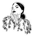 fashion portrait woman wearing furcoat vector image