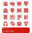 flag day icon set vector image vector image