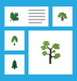flat icon ecology set of tree oaken garden and vector image vector image