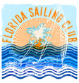 florida sailing club graphic design vector image vector image
