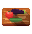 fresh eggplant tomato cucumber on a cutting vector image vector image