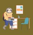 funny cartoon animal student a sloth schoolboy vector image vector image