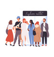 girls and boys dressed in trendy clothes standing vector image vector image