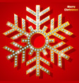 golden christmas snowflake with precious stones vector image