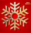 golden christmas snowflake with precious stones vector image vector image