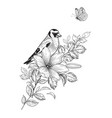 hand drawn goldfinch sitting on flower vector image vector image