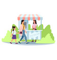 ice cream street market cart with seller flat vector image vector image