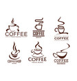 icons set of coffee cups for cafeteria cafe vector image
