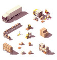 isometric low poly warehouse equipment vector image vector image