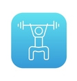 Man exercising with barbell line icon vector image vector image