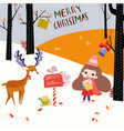 merry christmas and happy new year girl vector image vector image