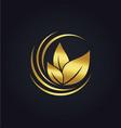 organic green leaf botany gold logo vector image vector image